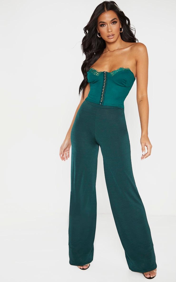 Emerald Green Slinky Wide Leg Pants  1