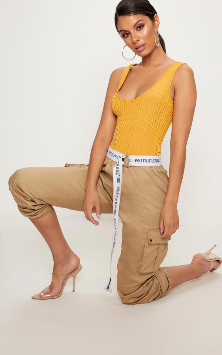 Yellow Rib Scoop Back Thong Bodysuit 5
