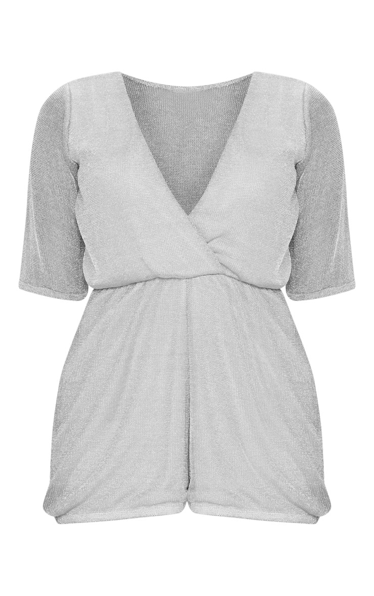 Petite Silver Knitted Wrap Front Playsuit 3