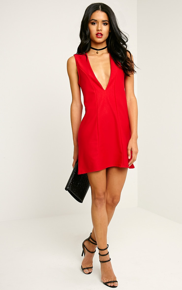 Ronnie Red Deep V Plunge Loose Fit Crepe Dress 3