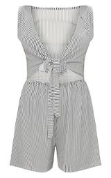 Monochrome Stripe Sleeveless Front Tie Romper 1