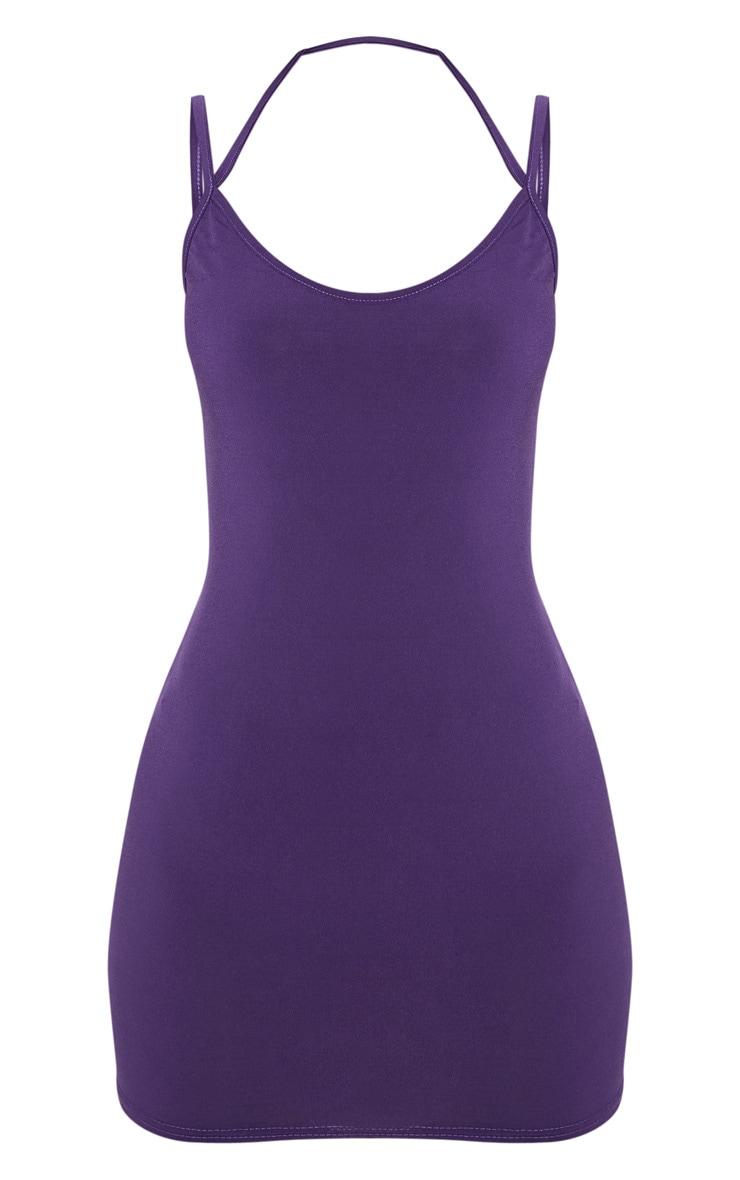 Petite Purple Slinky Strappy Bodycon Dress 3