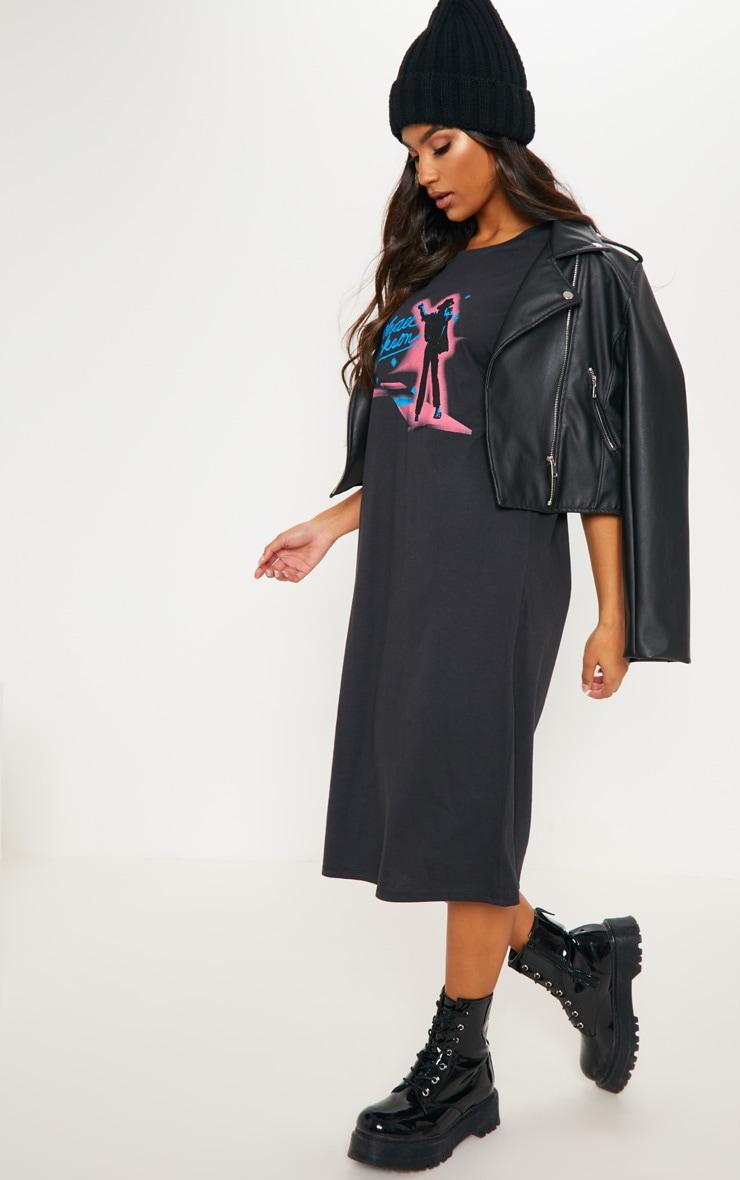 Michael Jackson Slogan Charcoal Neon Midi T Shirt Dress 4