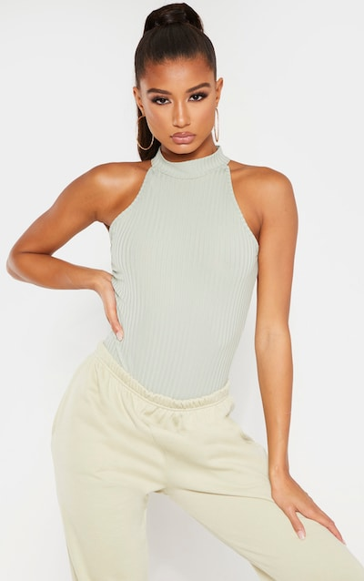 Sage Khaki High Neck Rib Sleeveless Bodysuit