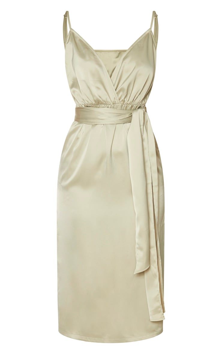 Sage Green Satin Tie Waist Midi Slip Dress 5