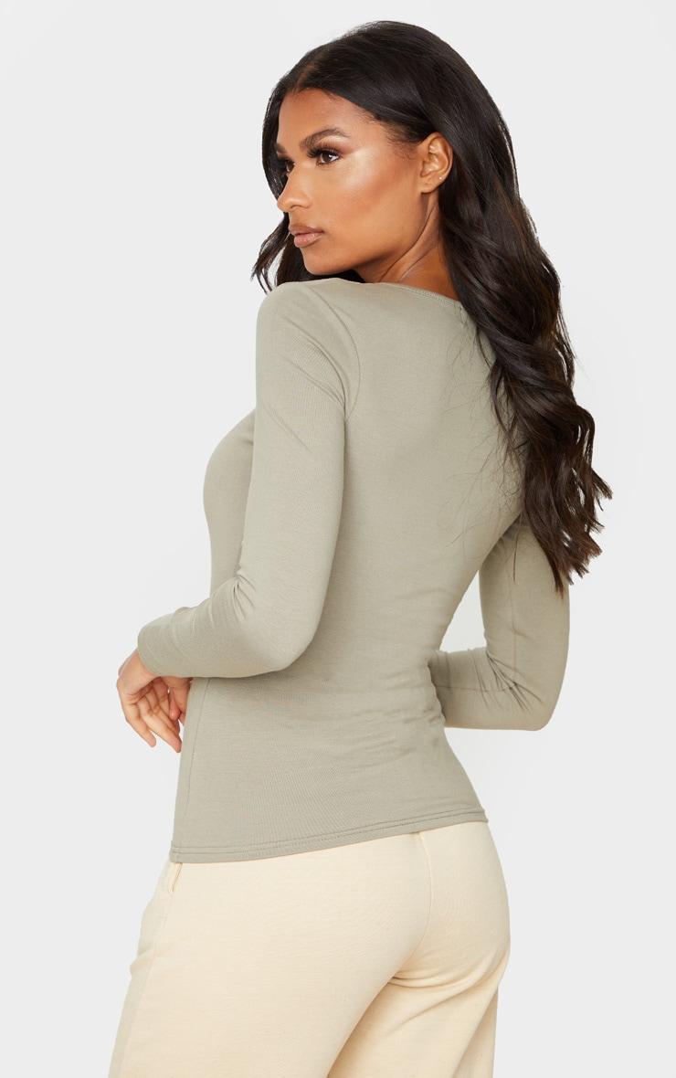 Tee-shirt à manches longues en coton kaki 2
