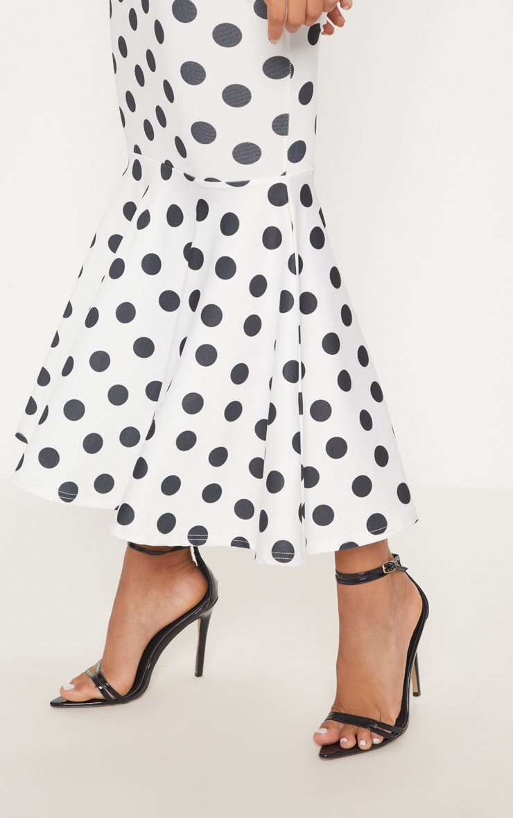 White Polka Dot Fishtail Midaxi Dress 5