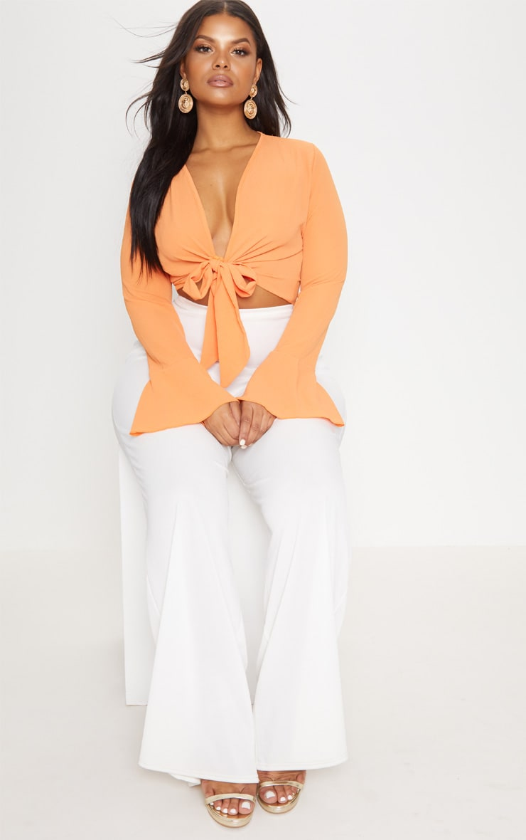 Plus Orange Tie Front Frill Sleeve Blouse 4