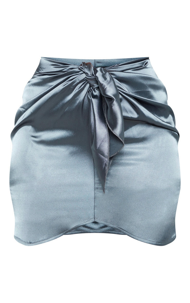 Charcoal Satin Knot Front Mini Skirt  3