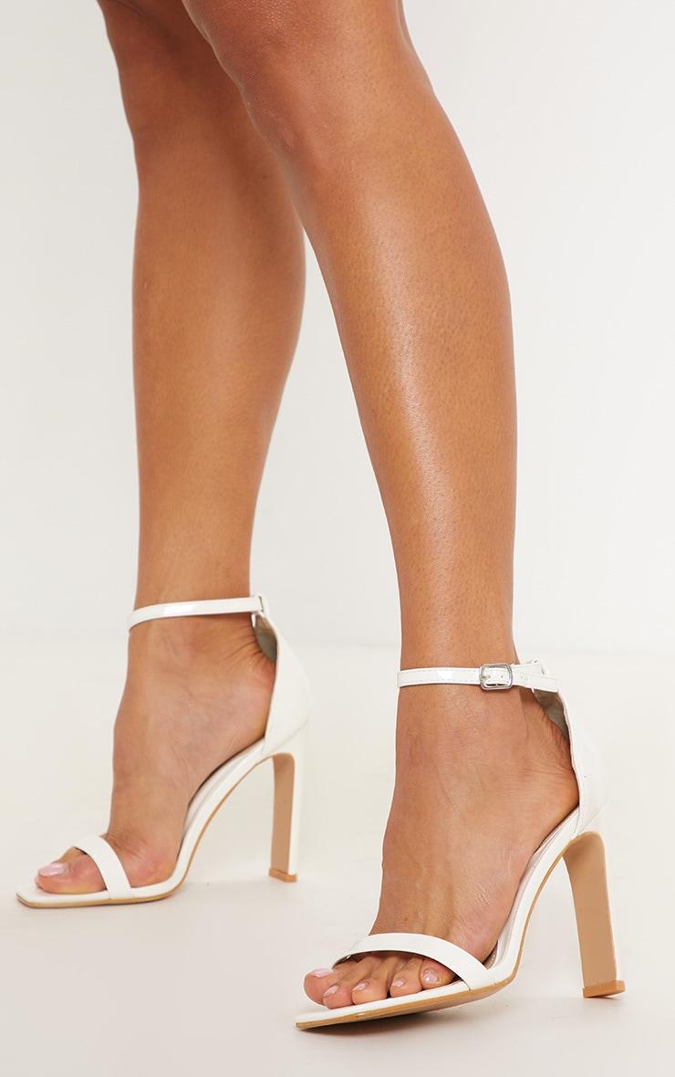 dcfcd61b5f3 White Square Toe Flat Heel Sandal image 1