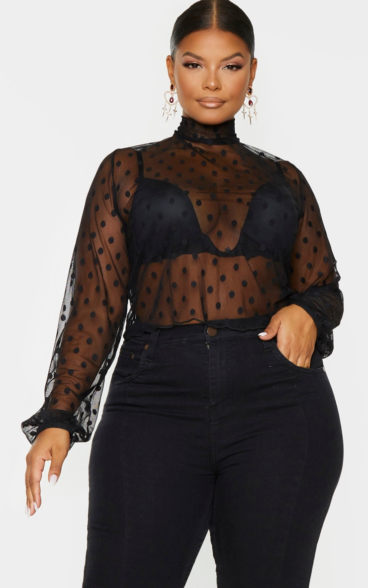 Plus Black Sheer Polka Dot High Neck Cropped Top 1