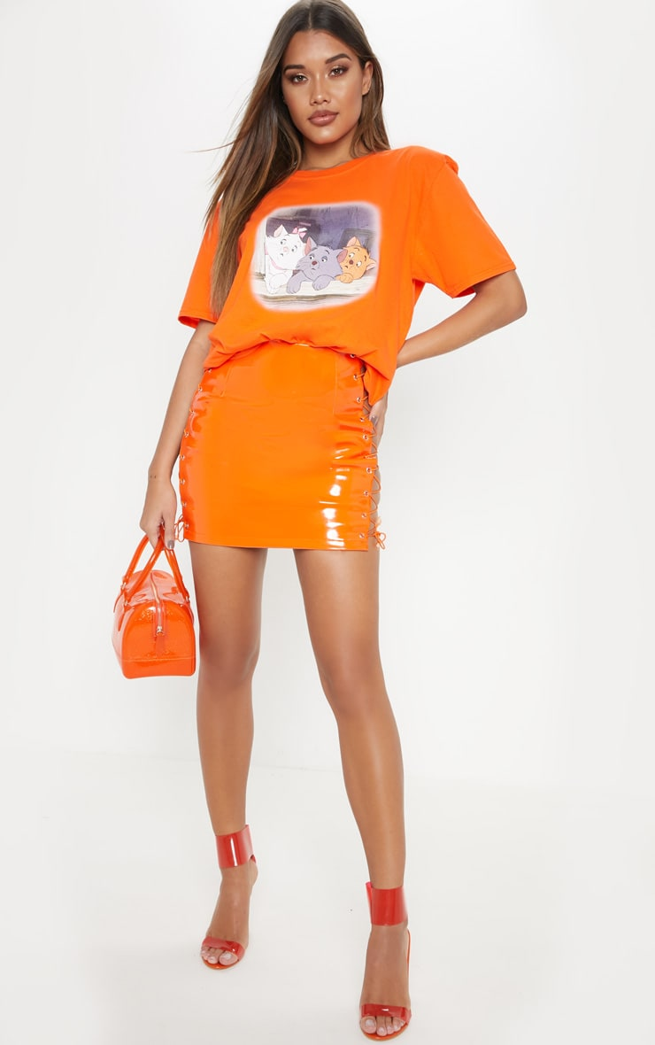 Orange Aristocat Printed Oversized T shirt 4