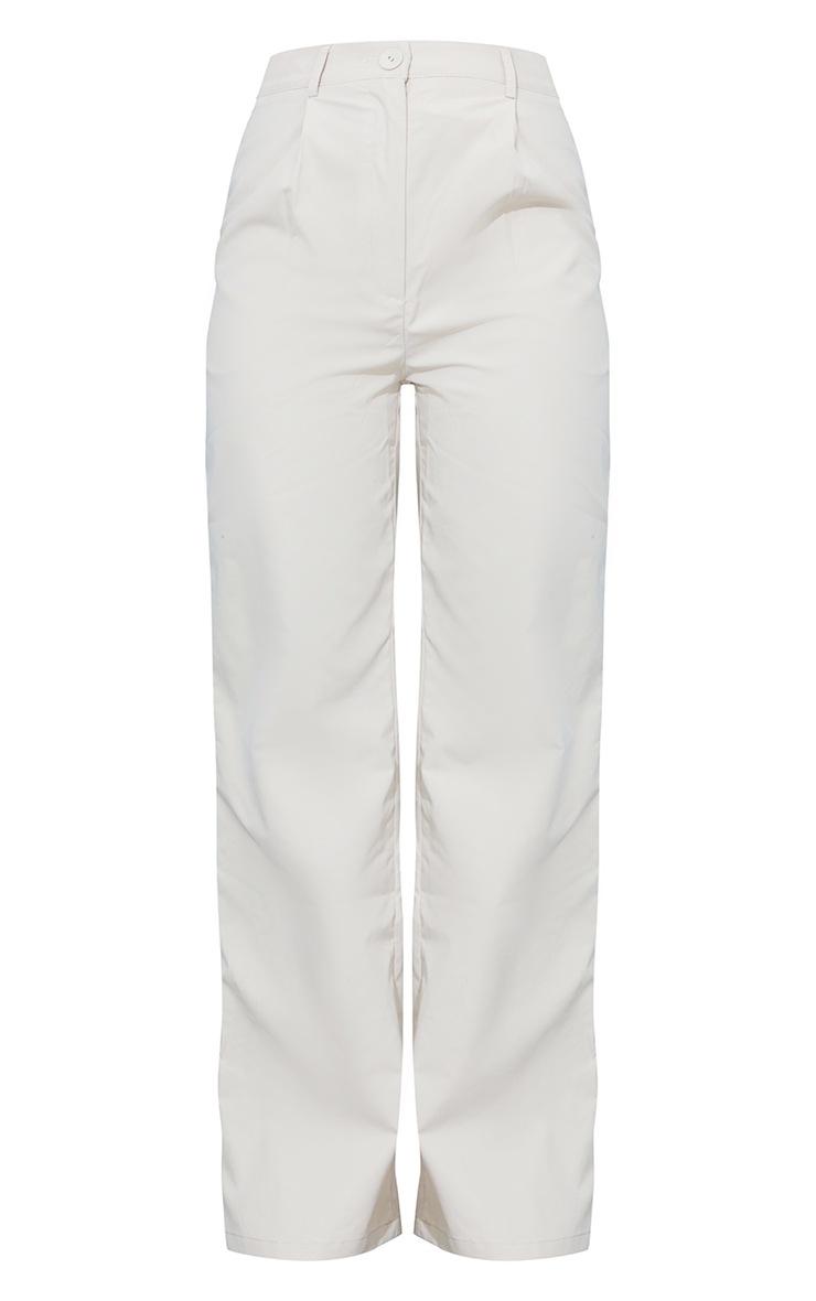 Pantalon droit en peau de pêche gris pierre 5