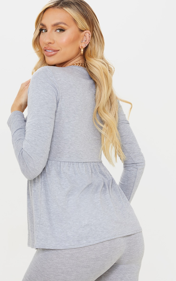 Maternity Grey Long Sleeve Frill Top 2