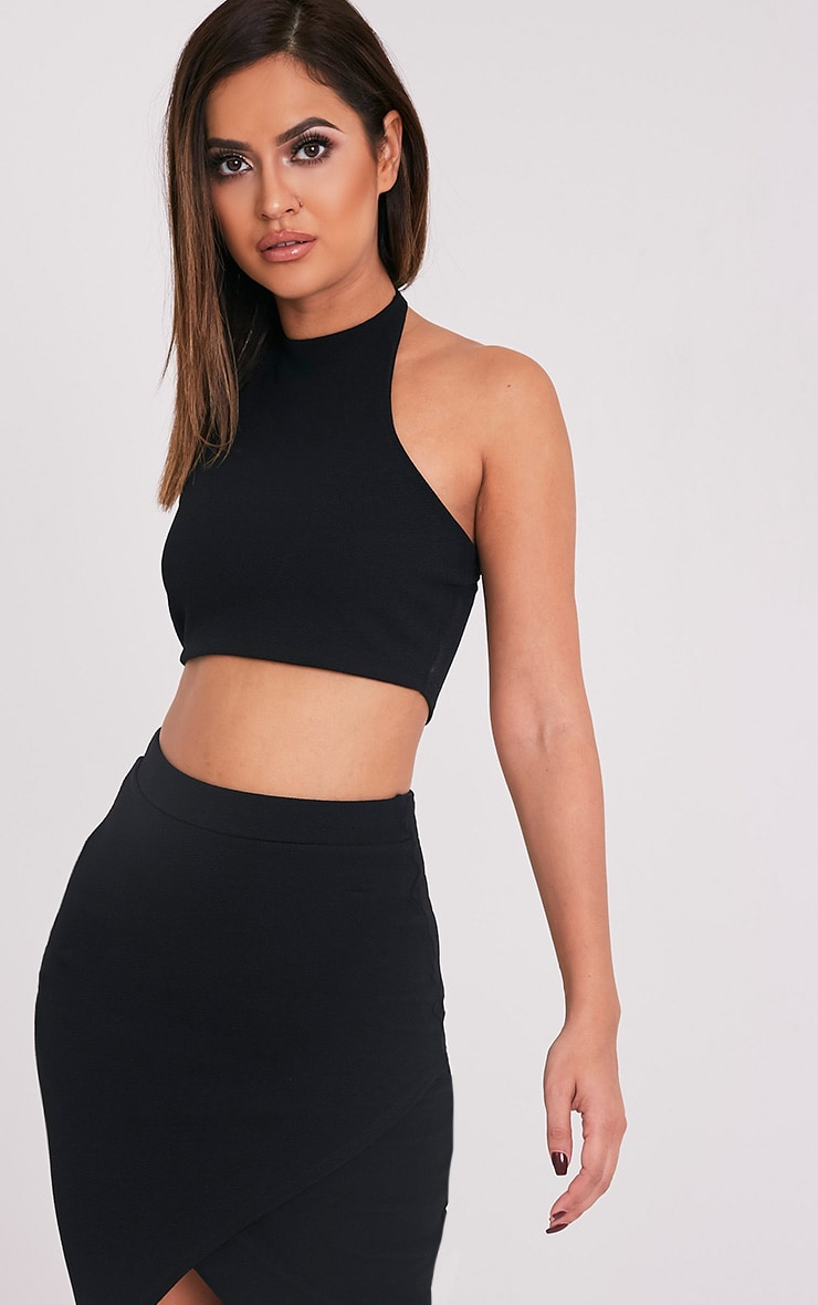 Sannia Black Halterneck Crop Top 1