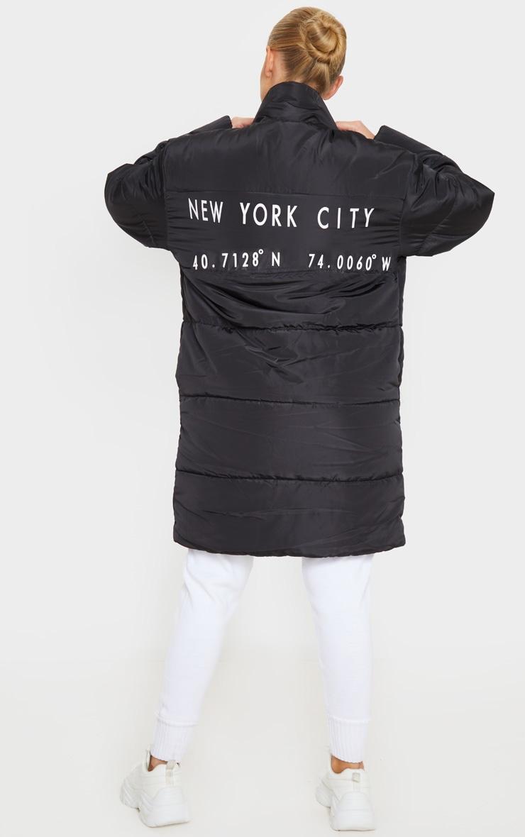 Doudoune mi-longue oversize noire à slogan 2