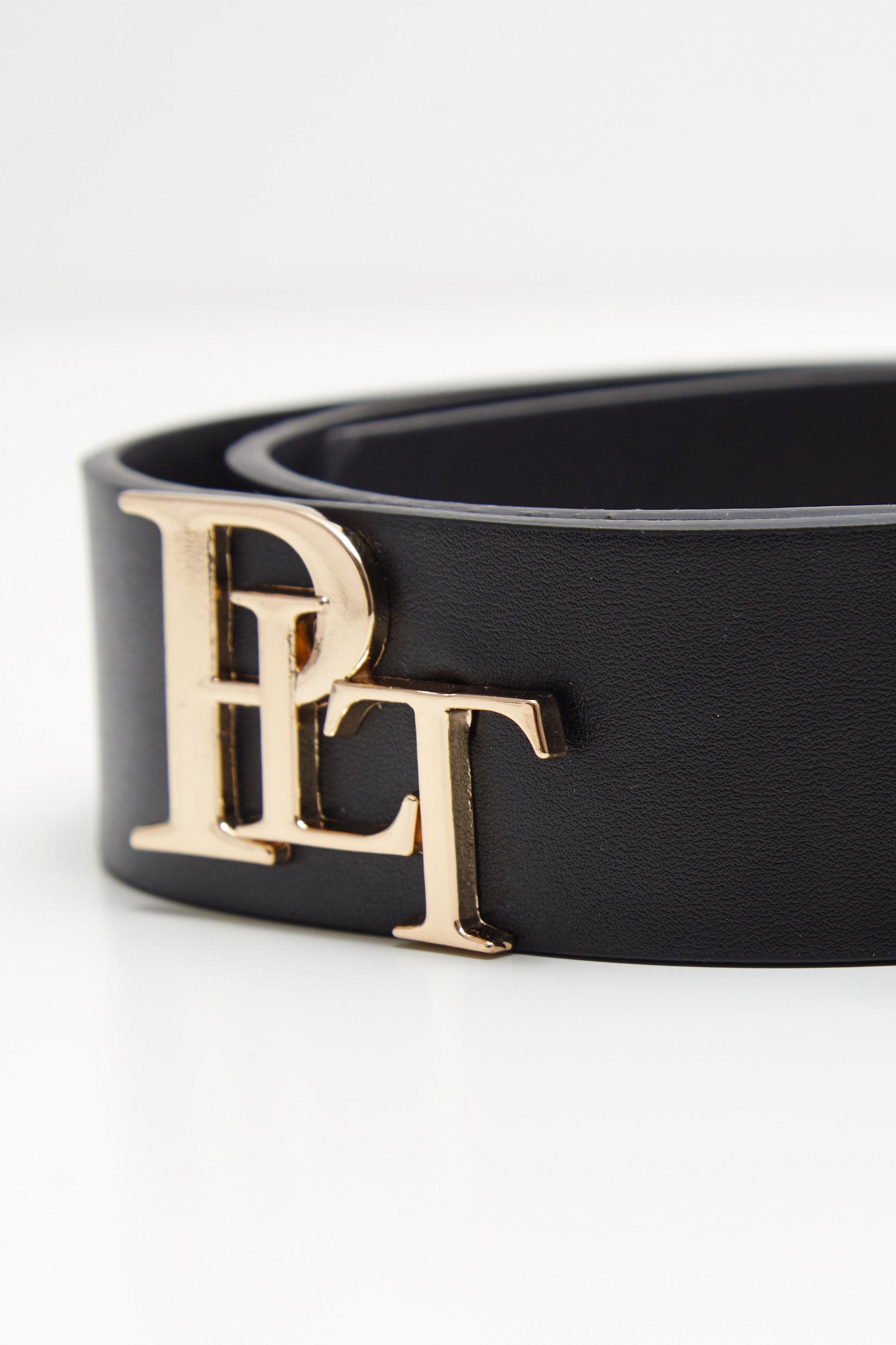 PRETTYLITTLETHING Logo Black Back Branded Buckle Belt 5