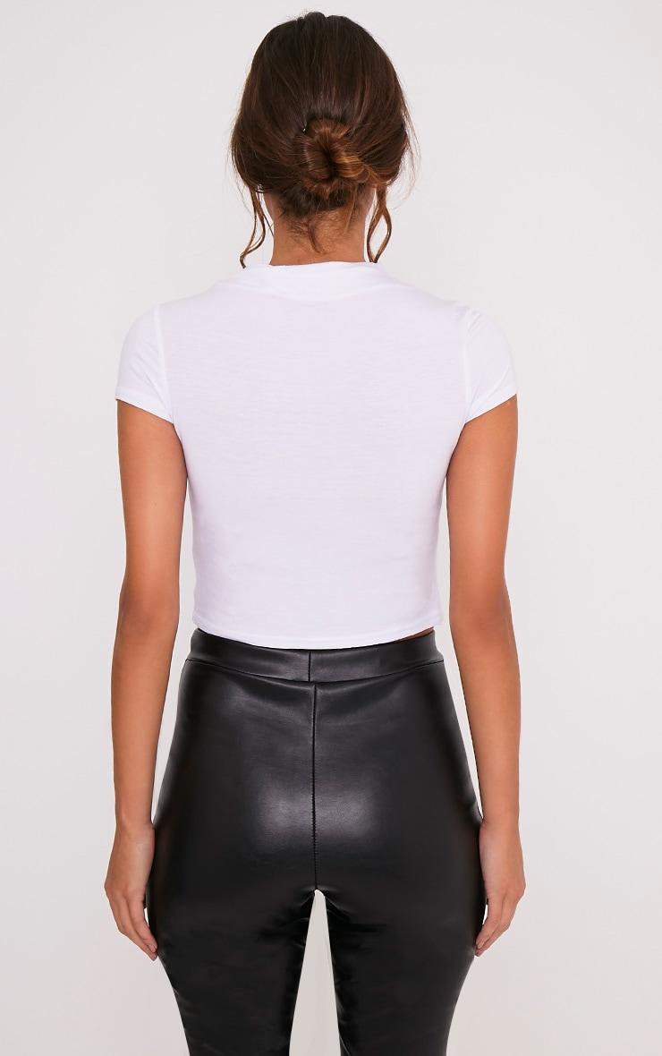 Basic t-shirt court blanc à col montant 2