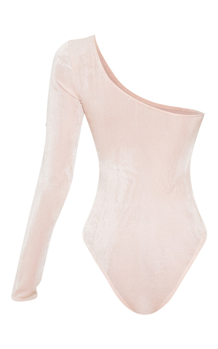 Pink Acetate Slinky One Shoulder Bodysuit 4