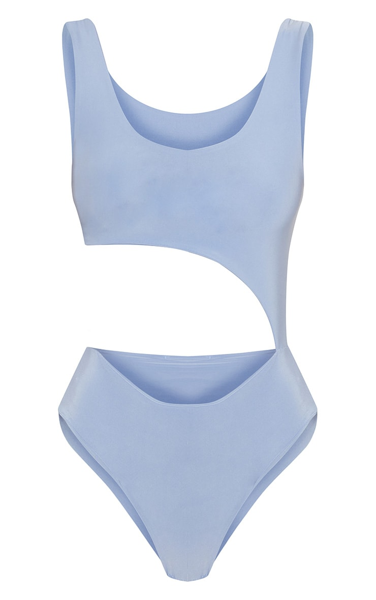 Dusky Blue Cut Out Slinky Thong Bodysuit 3