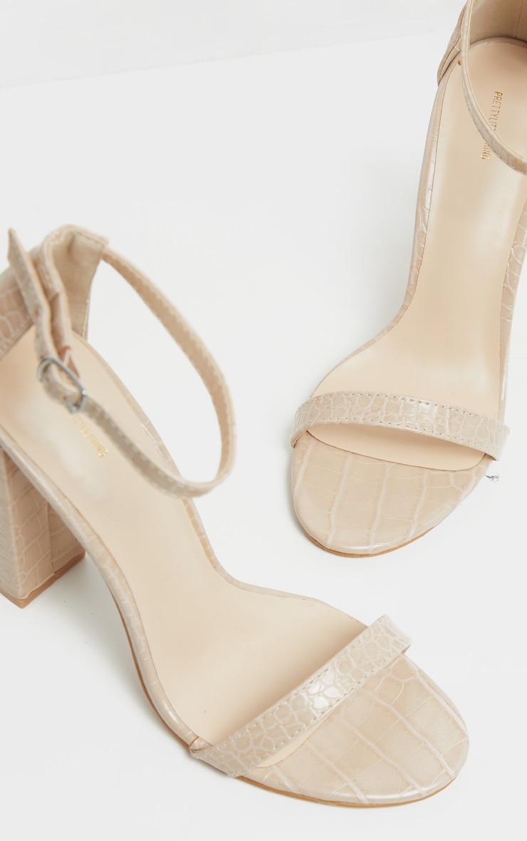 Nude Croc May Block Heel Sandal 4