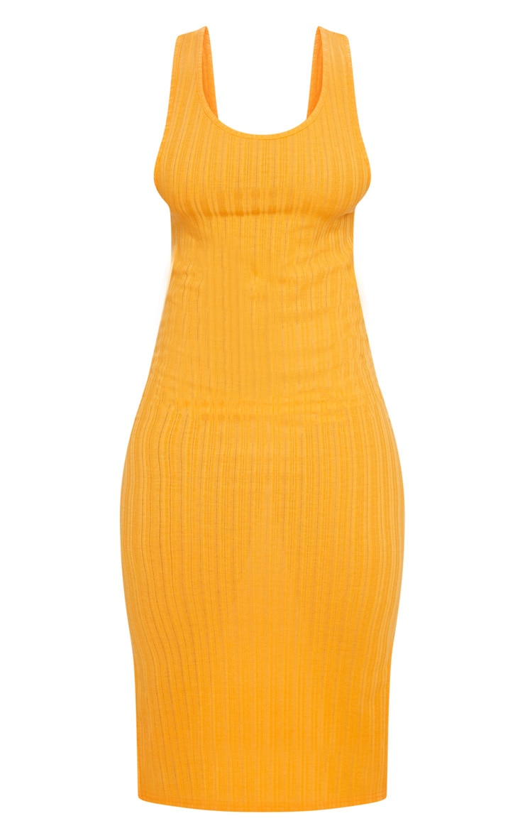 Orange Knitted Rib Scoop Detail Split Midi Dress 5