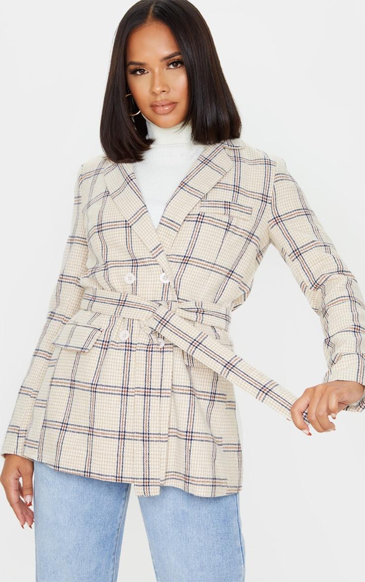 Cream Check Tie Waist Blazer 1