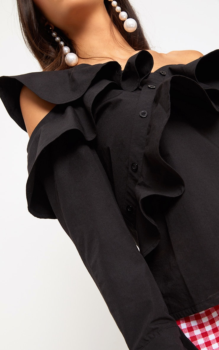 Black Off Shoulder Frill Shirt 5