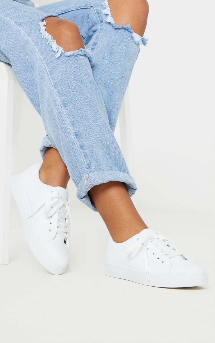 White Lace Up PU Trainer 1