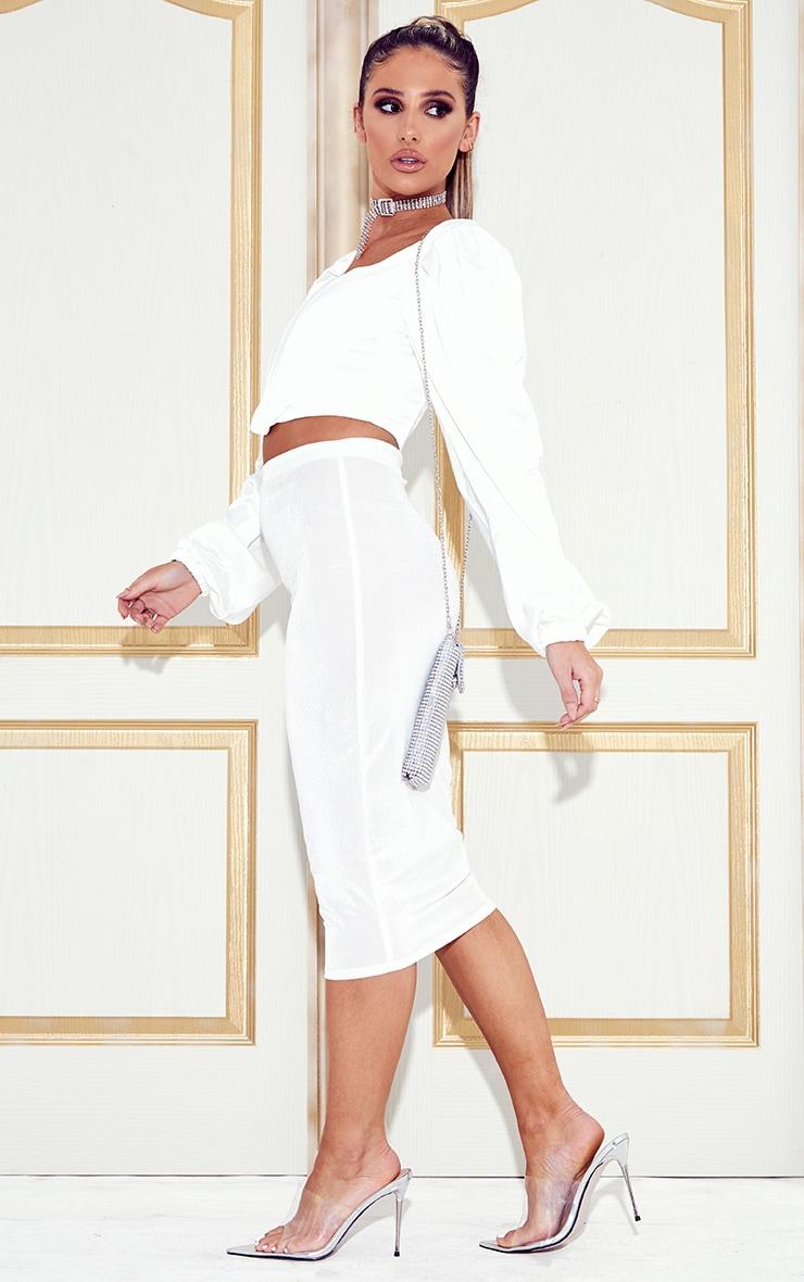 White Velvet Midi Skirt  5