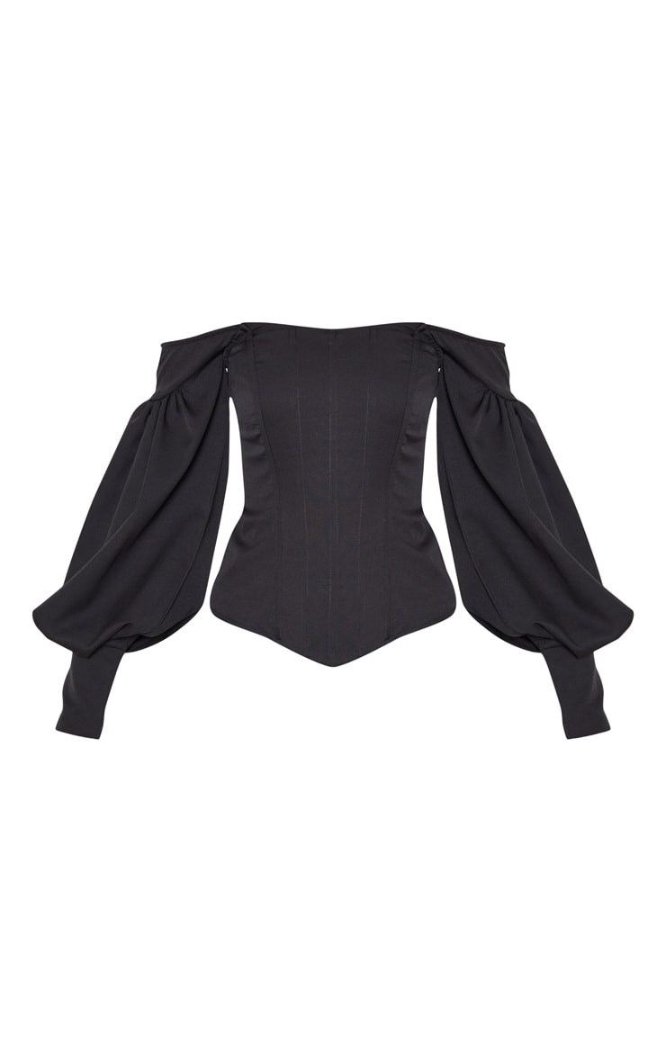 Black Bardot Balloon Sleeve Corset Top 3