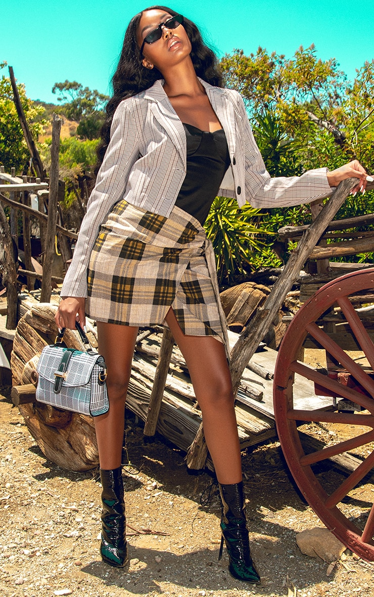 Brown Check Wrap Tie Skirt