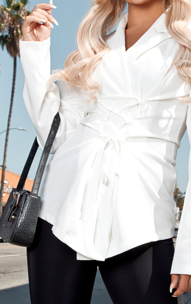 White Lace Up Corset Shirt 5