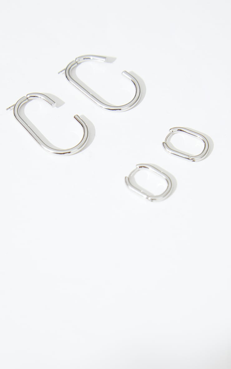 Silver Two Pack Oval Hoop Earrings 3