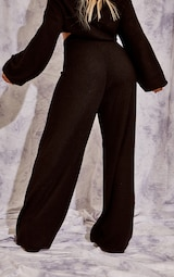 Recycled Black Knitted Wide Leg Pants 3