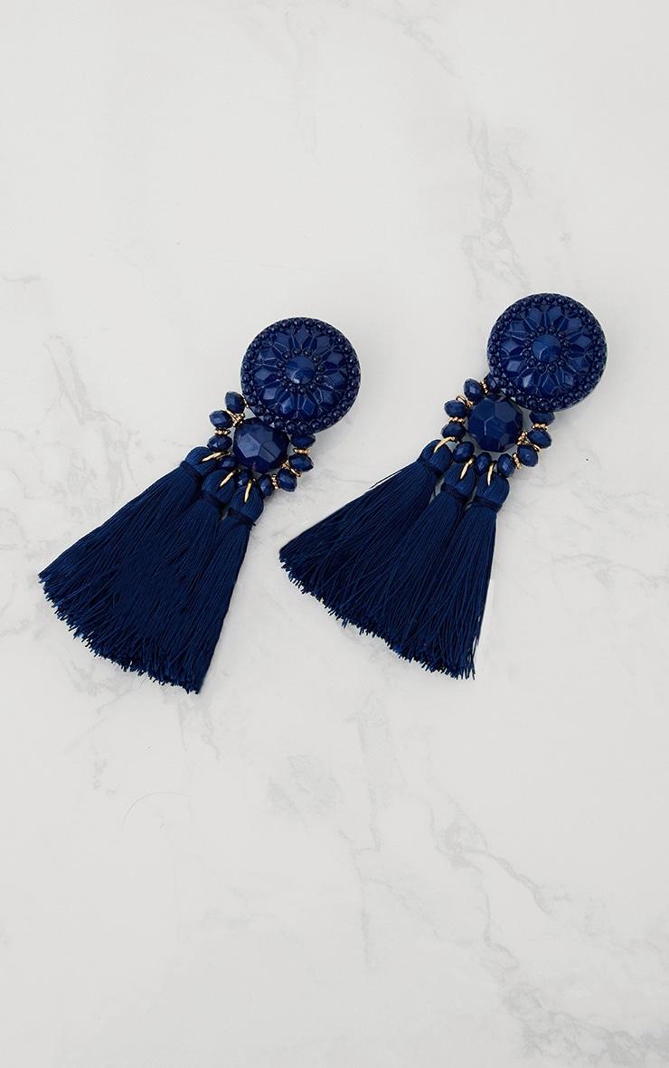 Navy Statement Tassel Earrings 3