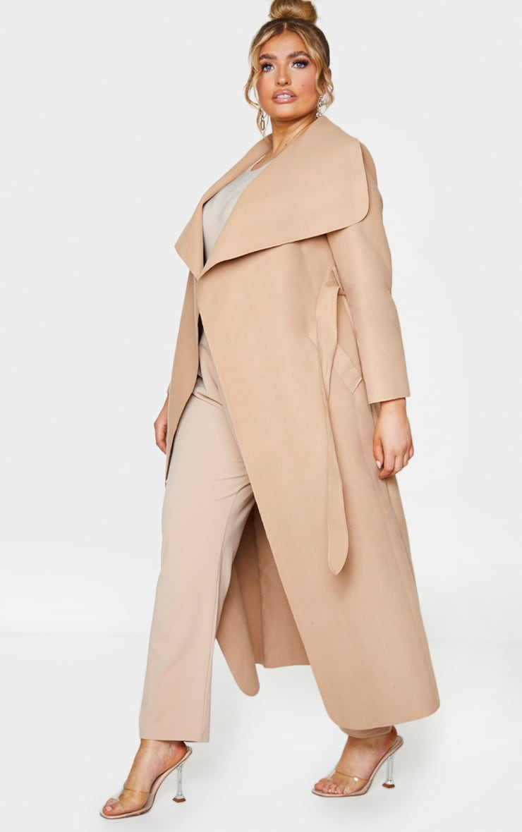 Plus Camel Maxi Oversized Waterfall Belted Coat 3