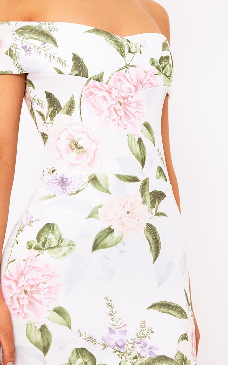 White Floral Bardot Midi Dress 5