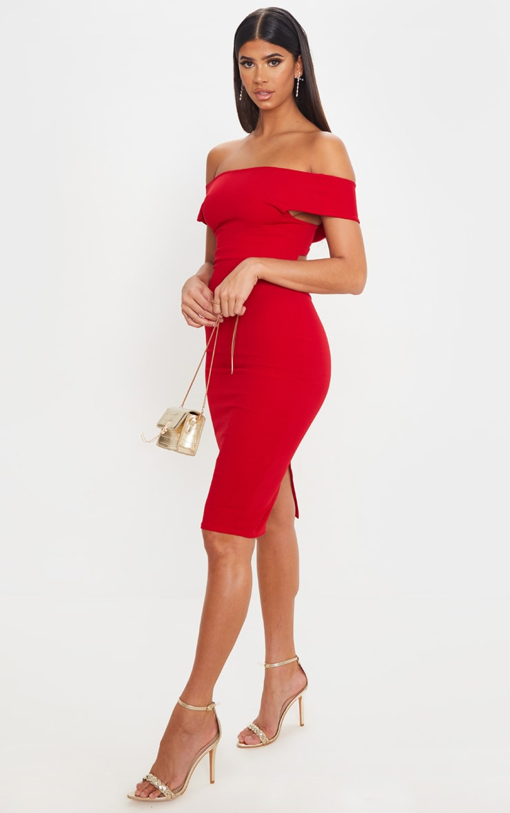 Red Bardot Cross Back Midi Dress 4