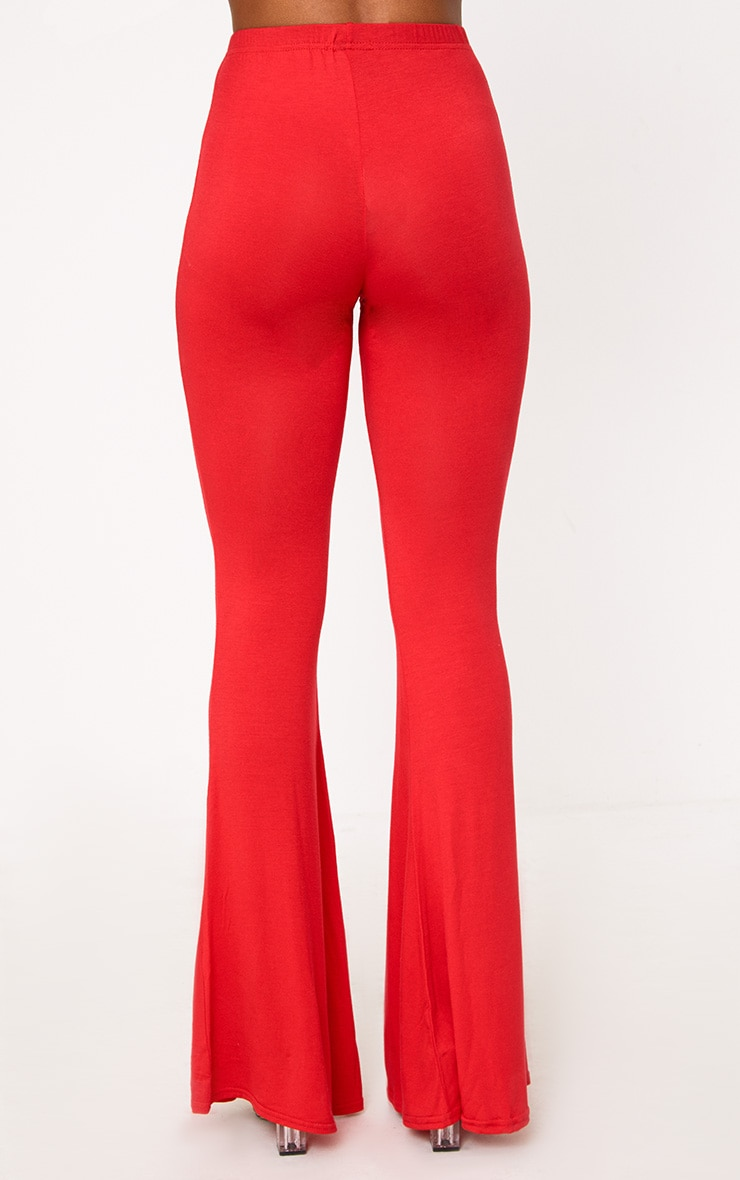 Red Basic Jersey Flared Trousers 4