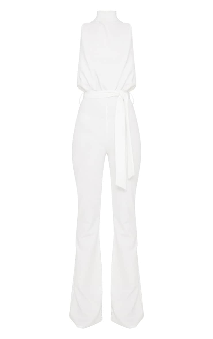White Scuba High Neck Tie Waist Jumpsuit 3