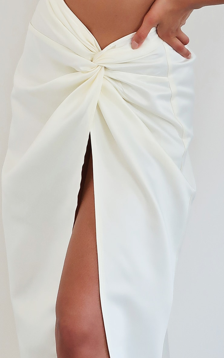 Cream Satin Woven Dip Hem Split Leg Maxi Skirt 5