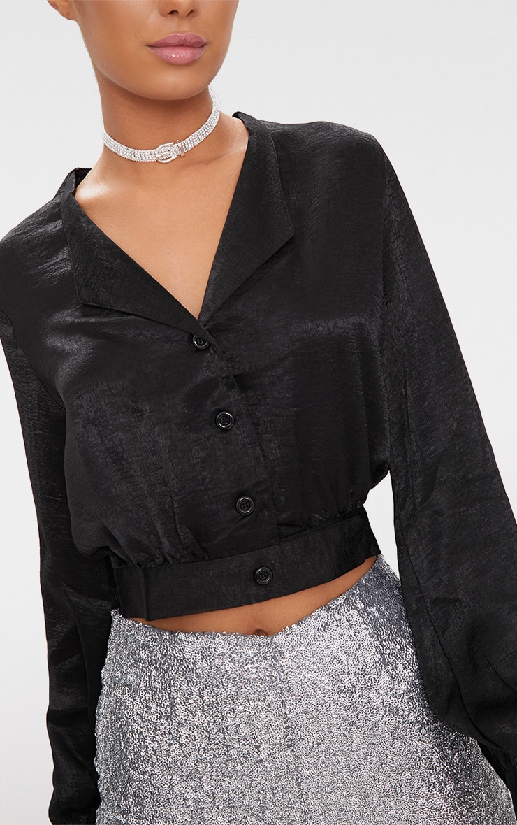 Black Satin Button Front Crop Shirt  5