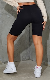 Black Cotton Stretch Bike Short 3