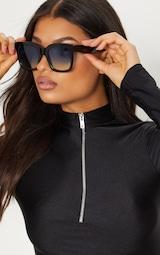 Black Blue Lens Oversized Square Sunglasses 1