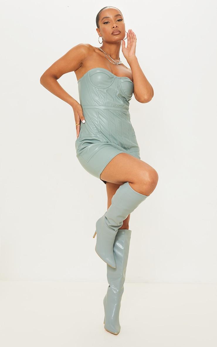 Mineral Blue PU Binding Detail Bandeau Bodycon Dress 3