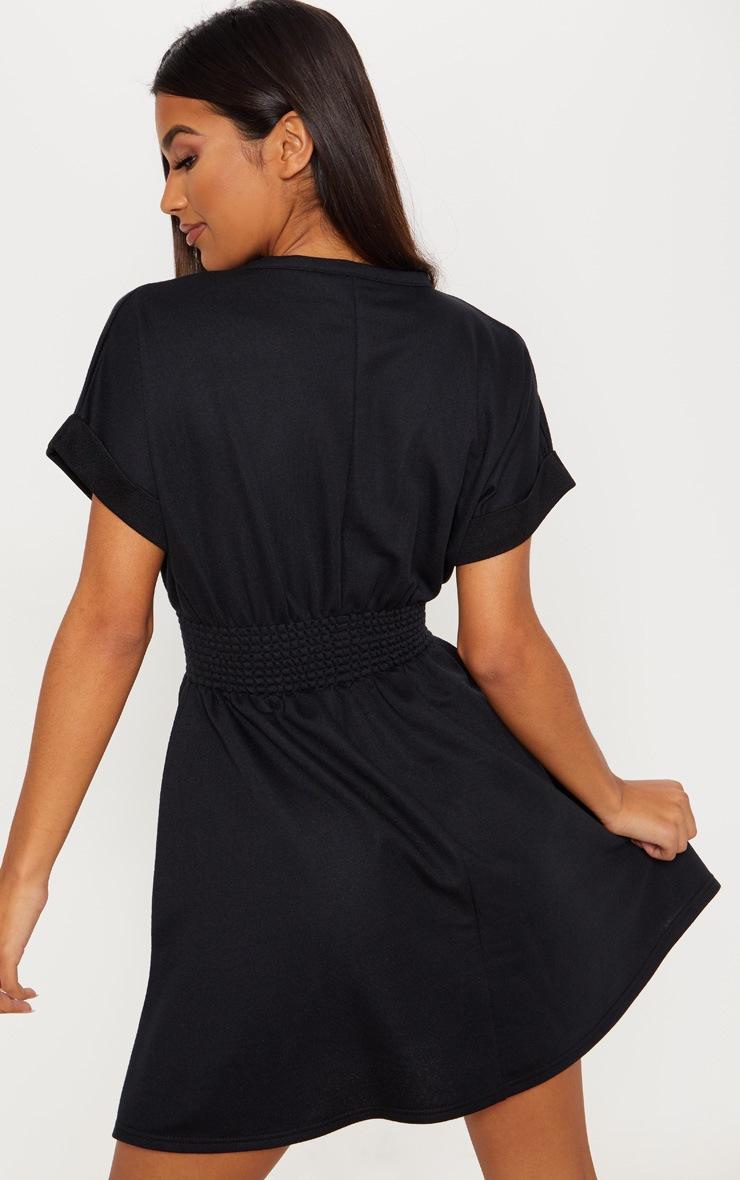Black Puff Sleeve Shirring Detail Jumper Dress 2