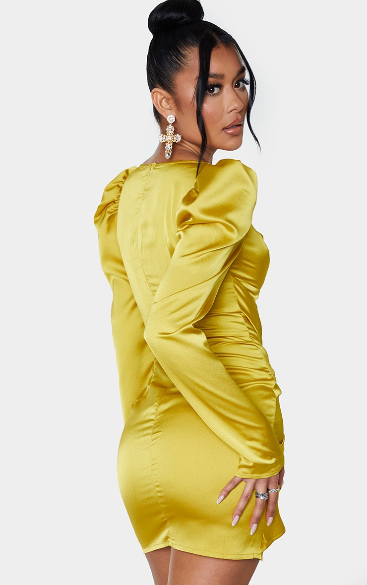 Chartreuse Satin Long Sleeve Tie Skirt Detail Bodycon Dress 2