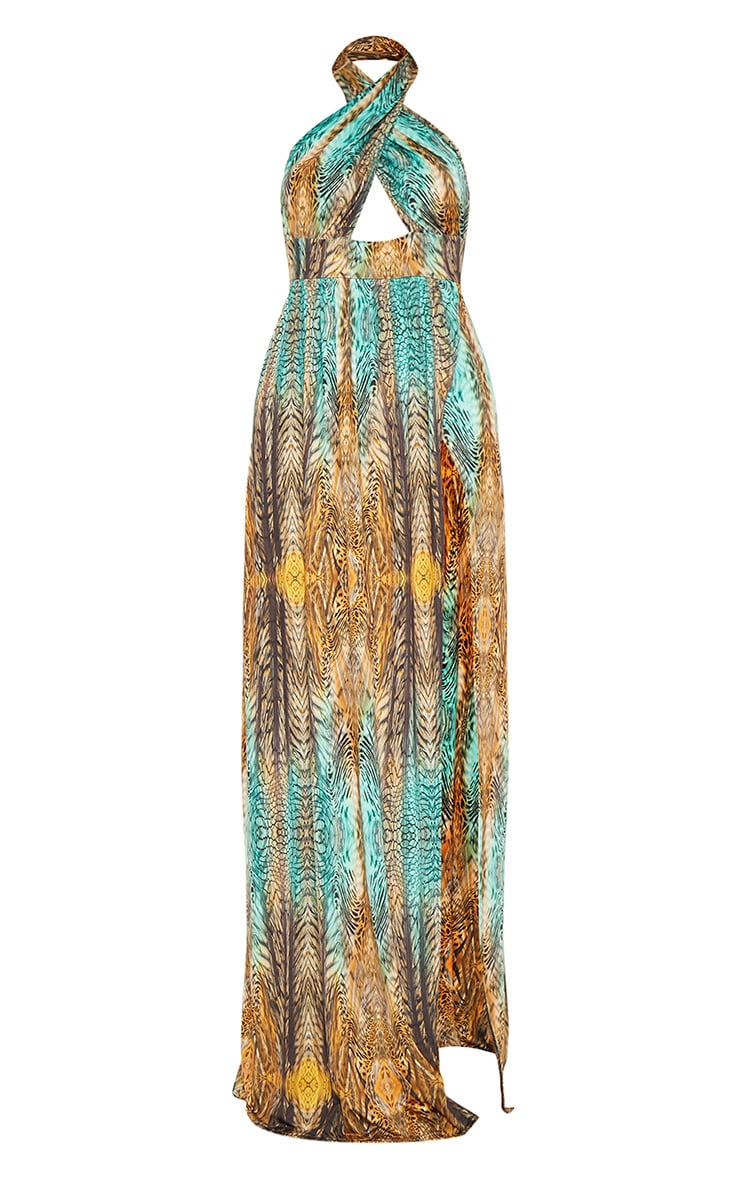 Multi Tiger Print Cross Over Halterneck Maxi Dress 3