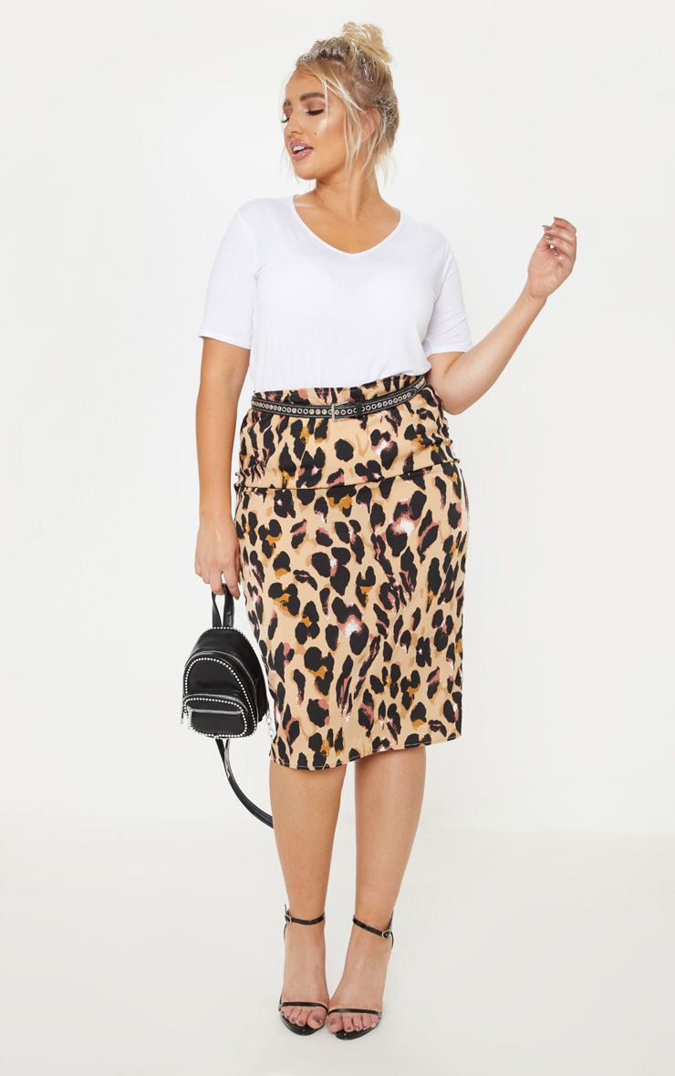 fc8ca81c Plus Tan Leopard Print Midi Skirt | Plus Size | PrettyLittleThing